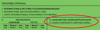 locatie polisnummer op groene kaart