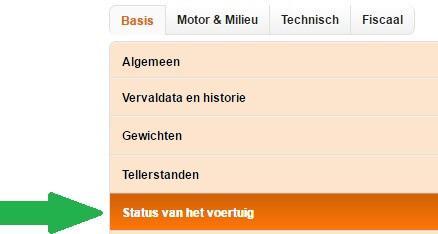 stap 2 status van het voertuig