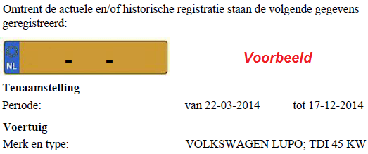 voorbeeld uitkomst van inzage rdw register